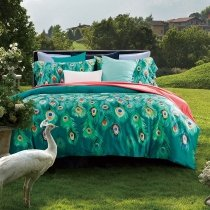 Peacock Green Blue and Orange Peacock Feather Print Exotic Personalized Luxury Egyptian Cotton Full, Queen Size Bedding Sets