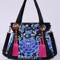 Gorgeous Black and Blue Canvas Tassel Feminine Lady Casual Tote Vintage Embroidered Folklore and Flower Crossbody Shoulder Handle Bag