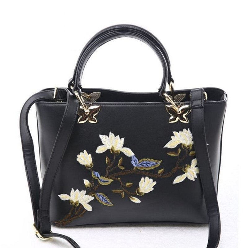 Vintage Black Patent Leather with Gold Hardware Women Casual Tote Gorgeous Embroidered Floral Sewing Pattern Crossbody Shoulder Bag