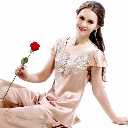 Desert Sand Cape Sleeve Shirt and Cropped Trousers 2pc 100% Pure Silk Women Pajamas M L XL XXL