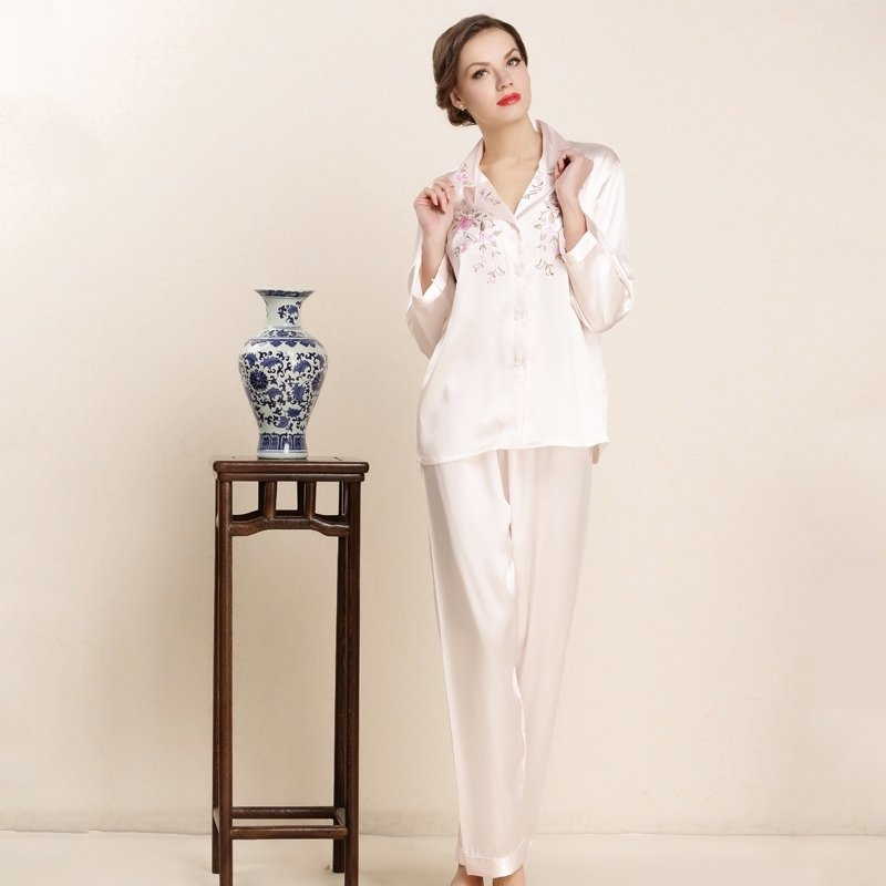 Pale Pink Embroidered Long Shirt and Pants 100% Pure Silk 2pc Casual Baggy Pajamas for Feminine Girly M L XL
