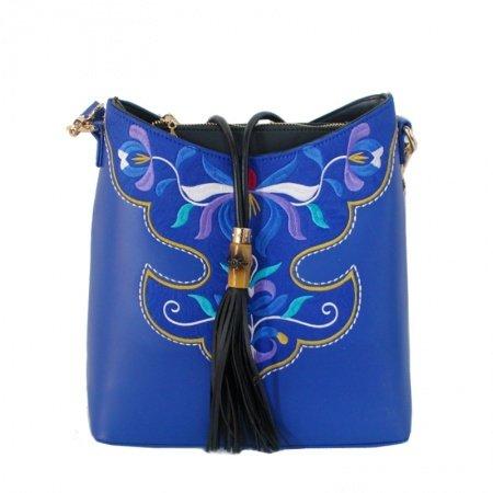 Bohemian Royal Blue Patent Leather Tassel Crescent Hobo Bag Vintage Folklore Vector Flower Embroidered Crossbody Shoulder Messenger Bag