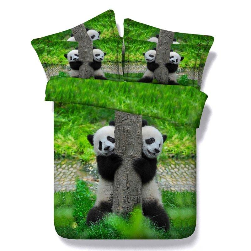 Emerald Green Black and White Panda Print Jungle Safari Themed 3D Design Twin, Full, Queen, King Size Bedding Sets