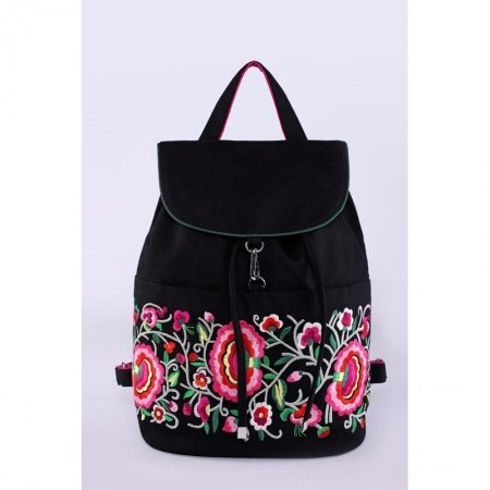 Bohemian Chic Black Canvas Women Flap Drawstring Travel Backpack Gorgeous Vintage Folklore Floral Embroidered School Campus Book Bag