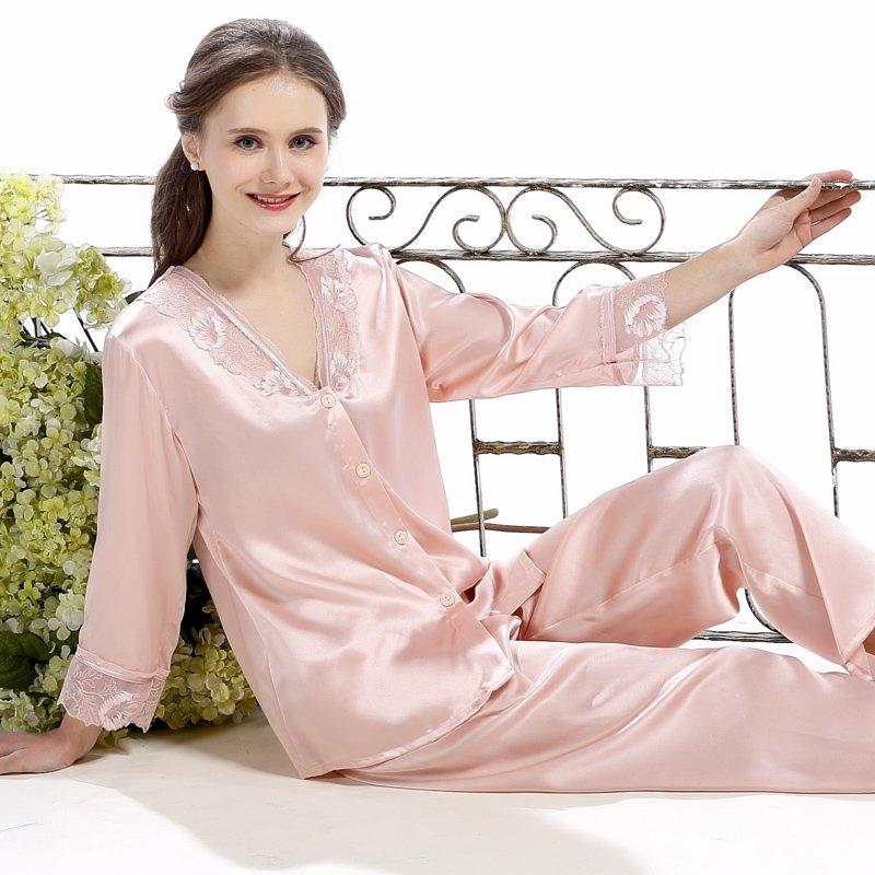 Pale Chestnut 100% Chinese Silk Flower Embroidered Lace V-neck Shirt Long Pants Luxury Stylish Pajamas for Feminine Girly M L XL