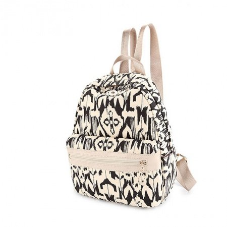 Bohemian Style Black White Canvas Leather Girls School Book Bag Punk Rock and Roll Ikat Print Sewing Pattern Small Travel Backpack