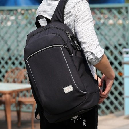 Lightweight Solid Black Polyester Masculine Men Large Casual Travel Hiking Backpack Durable Sewing Pattern School Campus Book Bag
