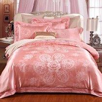 Elegant Girls Salmon Pink Antique Flower Pattern Glitter Noble Excellence Luxury Jacquard Satin Full, Queen Size Bedding Sets