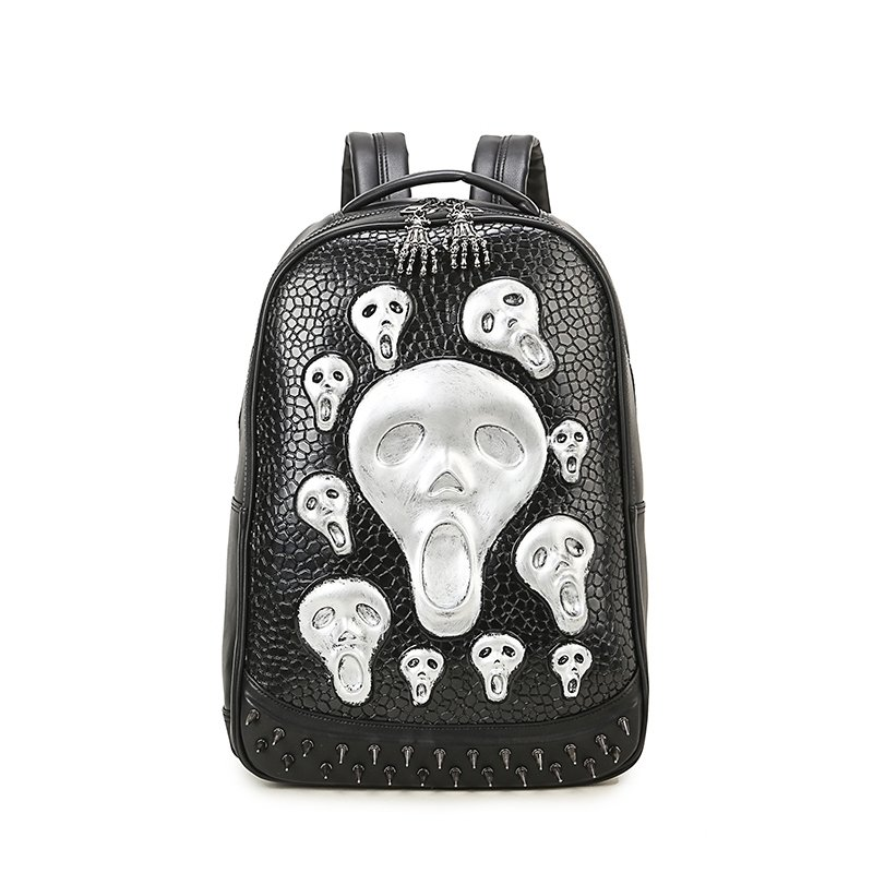 Black Leather Embossed Metallic Silver Skull Men Large Travel Backpack Punk  Rock and Roll Style Spike Rivet Studded School Book Bag 218c59c1903aa