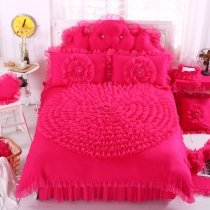 Girls Watermelon Red Ruched Rosette Pattern Gathered Design Princess Style Modern Chic 100% Cotton Twin, Full, Queen Size Bedding Sets