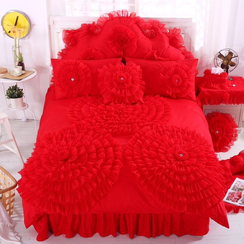 Luxury Scarlet Red Ruched Rosette Pattern Lace and Ruffled Design Feminine Feel 100% Cotton Twin, Full, Queen Size Bedding Sets for Girls