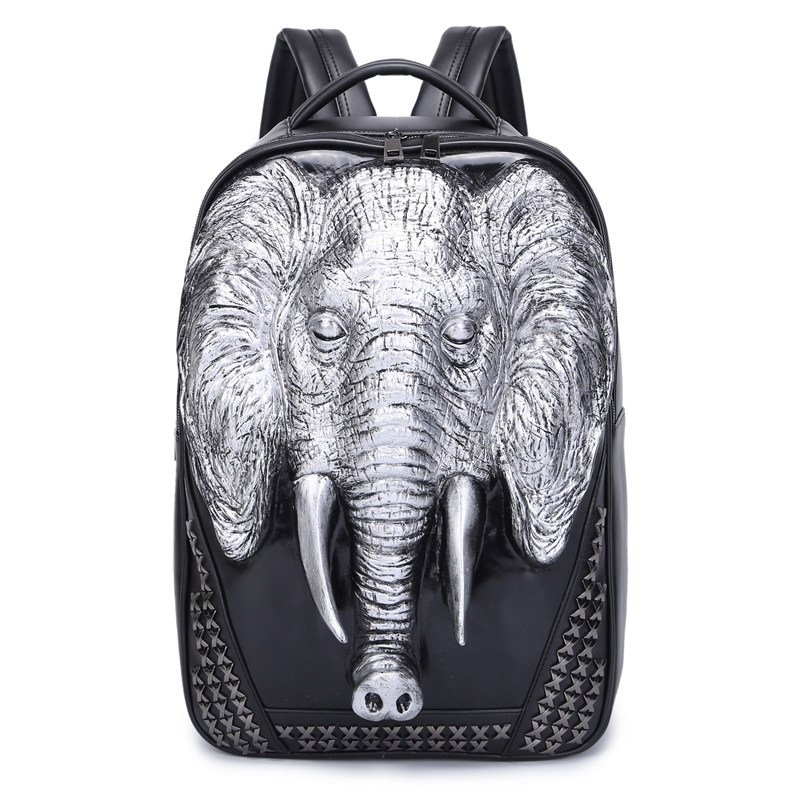 Black Leather Embossed Metallic Silver Elephant Cool Men Large Travel Backpack Punk Rock and Roll Style Rivet Studded School Book Bag