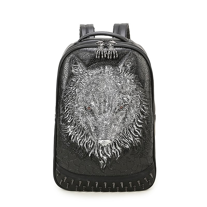 Black Leather Embossed Metallic Silver Wolf Boys School Campus Book Bag Punk Rock and Roll Spikes Rivet Studded Large Travel Backpack
