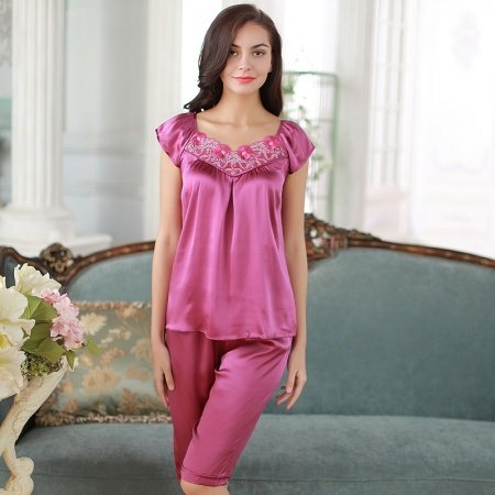 Purple 100% Pure Silk Flower Embroidered Short Sleeve Shirt & Knee Length Shorts Luxury Pajamas for Feminine Girly M L XL