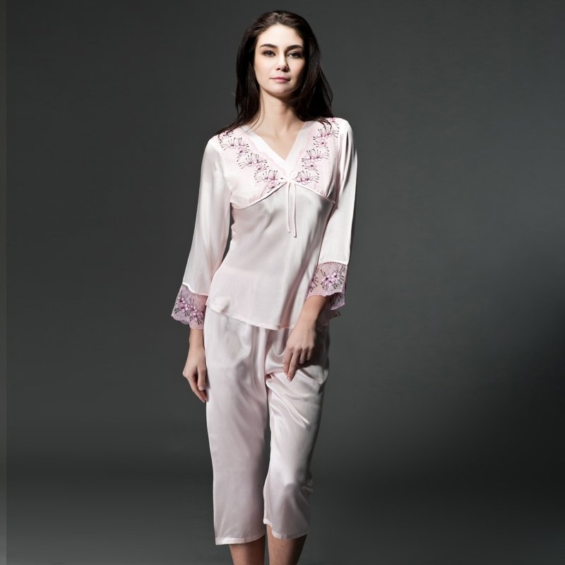 Pink 100% Nature Silk Bowknot Embroidered Lace Long Sleeve Shirt & Pants Gorgeous Elegant Pajamas for Feminine Girly M L XL
