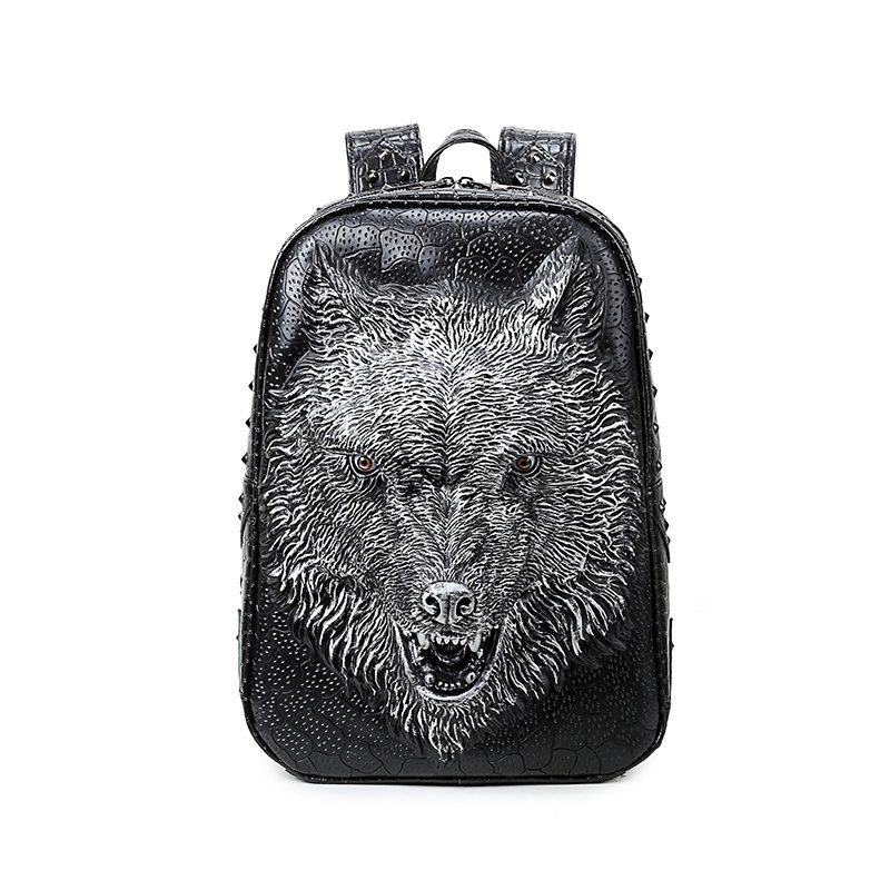 Vintage Black Leather Embossed Metallic Silver Wolf Head Travel Backpack Punk Rock and Roll Style Rivet Studded Boys School Book Bag