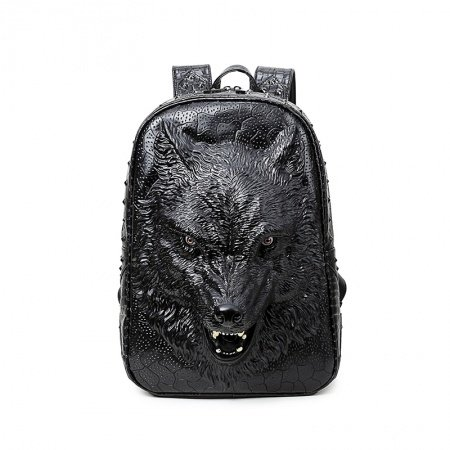 Personalized Black Faux Leather Embossed Wolf Head Men Travel Backpack Vintage Rock and Roll Style Rivet Studded School Campus Book Bag