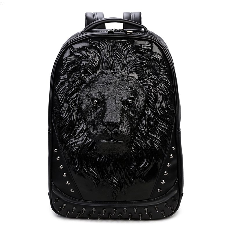 Vintage Personalized Black Leather Engraved Lion Head Men Large Travel Backpack Punk Rock and Roll Spike Rivet Studded School Book Bag
