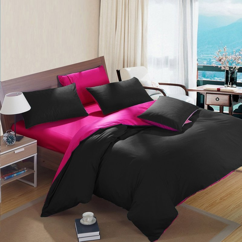 Black and Rose Pink Feminine Feel Simply Chic High Fashion Zippered Full, Queen, King Size Bedding Sets