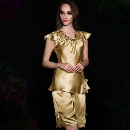 Tan European style Embroidered Hollow Out Lace 100% Nature Silk Shirt & Pants Girls Lady Pajamas L XL