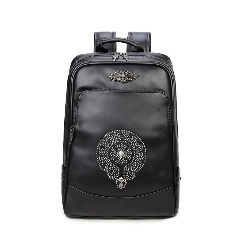 Personalized Black Faux Leather Rivet Studded Boys School Campus ...