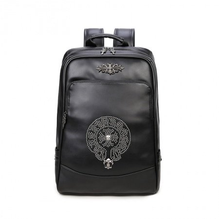 Personalized Black Faux Leather Rivet Studded Boys School Campus Book Bag Punk Style Durable Sewing Pattern Sequin Travel Backpack
