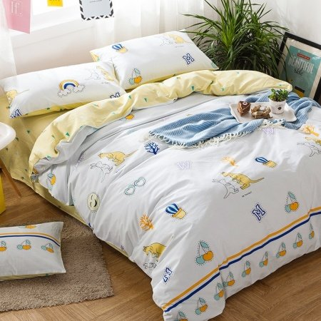 White Yellow and Cream Kangaroo Print Jungle Animal Cartoon Themed Reversible 100% Cotton Twin, Full Size Bedding Sets for Kids