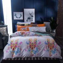 Gold Purple Blue and White Butterfly and Jewelry Pattern Colorful Bohemian Style Southwestern 100% Cotton Twin, Full Size Bedding Sets