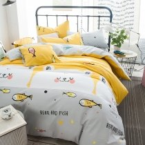 Gray White and Gold Tropical Fish Print Ocean Life Cute Funny Twin, Full Size Bedding Sets for Kids