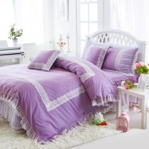 Sophisticated Elegant Amethyst Purple and White Gathered Ruffle Vintage Victorian Lace Girls Cotton Twin, Full, Queen Size Bedding Sets