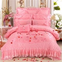 Noble Excellence Coral Pink Victorian Rose Print Vintage Lace Romantic Ruffle Girly Luxury Jacquard Cotton Full, Queen Size Bedding Sets