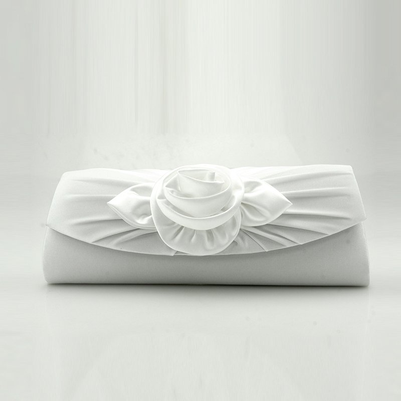 Off-white Polyester Ruffle Women Small Flap Evening Clutch Wallet Applique Rose Flower Magnetic Closure Chain Crossbody Shoulder Bag