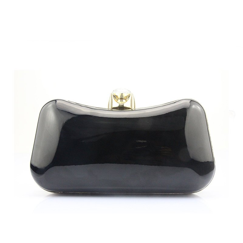 Shiny Black Patent Leather Women Small Hard Shell Evening Party Clutch Vintage Lock Closure Chain Bride Wedding Crossbody Shoulder Bag