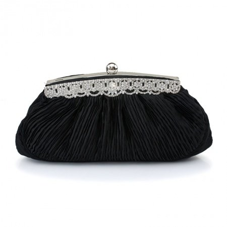 Black Ruffle Nylon Magnetic Closure Lady Small Evening Party Clutch Western Bling Rhinestone Chain Bride Wedding Crossbody Shoulder Bag