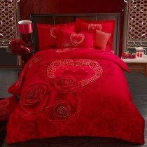 Chinese Red Heart and Rose Print Wedding Themed Romantic Stylish Elegant 100% Brushed Cotton Full, Queen Size Bedding Sets