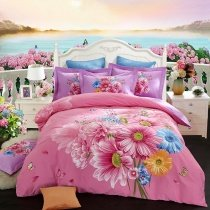 Romantic Girls Hot Pink Orange and Blue Sunflower Print Rustic Chic Luxury Brushed Cotton Full, Queen Size Bedding Sets