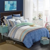 Sapphire Blue Camel Grey and White Aztec Stripe Print Shabby Chic 100% Brushed Cotton Full, Queen Size Bedding Sets for Teenage