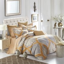 Camel and Grey Indian Pattern Fancy Gothic Style Shabby Chic 100% Brushed Cotton Full, Queen Size Bedding Sets