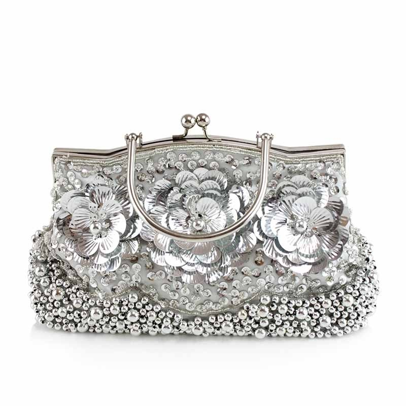 Trend Silver Beaded Metal Handle Women Hard Shell Tote Applique Flower Vintage Kiss Lock Chain Bride Small Wedding Crossbody Shoulder Bag