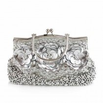 Trend Silver Beaded Metal Handle Women Hard Shell Tote Applique Flower Vintage Kiss Lock Chain Bride Small Wedding Crossbody Shoulder Bag