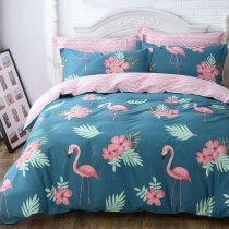 Blue Green and Pink Flamingo Print Animal Themed French Country Chic 100% Cotton Full, Queen Size Bedding Sets