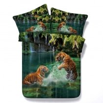 Green and Brown Tiger Print Jungle Safari Wild Animal Themed 3D Design Twin, Full, Queen, King Size Bedding Sets