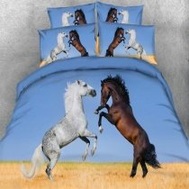 Rustic Western Brown White Gold and Sky Blue Farm Aniaml 3D Horse Print Cowboy Themed Twin, Full, Queen, King Size Bedding Sets
