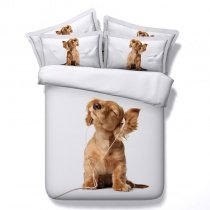 Funky Camel Brown and White Dog Print Cute Style Modern Chic Farm Animal Themed Twin, Full, Queen, King Size Bedding Sets