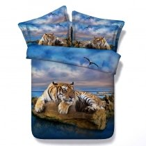Brown and Blue Tiger Print 3D Design Jungle Safari Animal Themed Twin, Full, Queen, King Size Bedding Sets