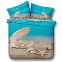 Sandy Brown and Ocean Blue Seashell and Starfish Print Beach Themed Hawaiian Style Twin, Full, Queen, King Size Bedding Sets