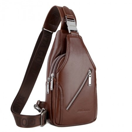 Maroon Brown Distressed Patent Leather Men Crossbody Shoulder Chest Bag Vintage Anti Theft Zipper Travel Hiking Cycling Sling Backpack