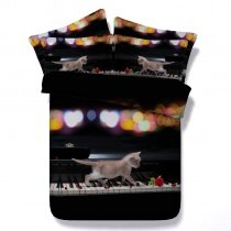 Sparkle Black White Red and Gold Piano Cat and Rose Print Music Themed Punk Rock and Roll Style Twin, Full, Queen, King Size Bedding Sets