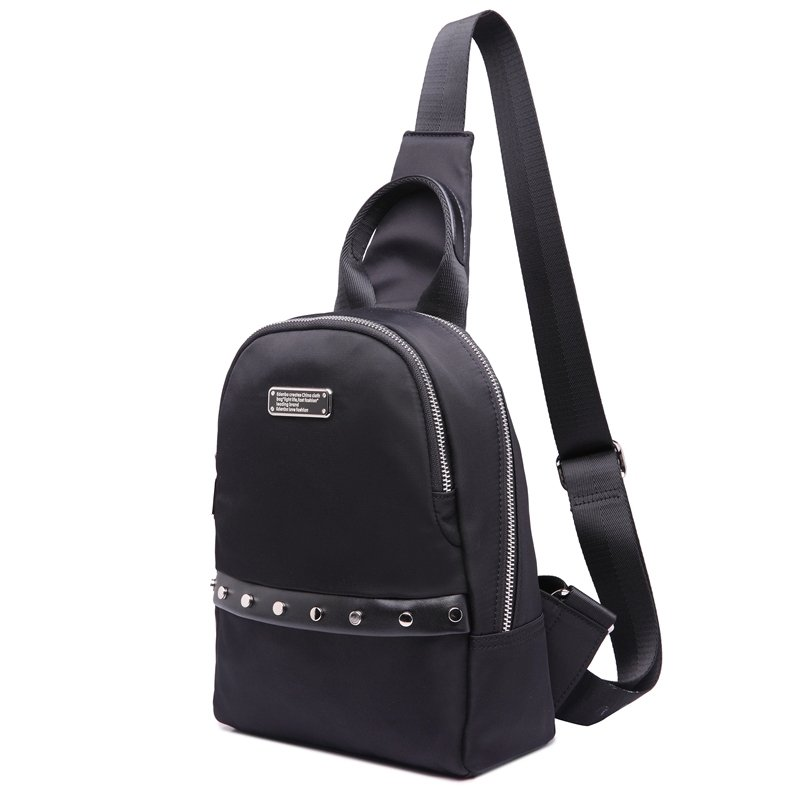 Waterproof Solid Black Nylon Rivet Studded Men Crossbody Shoulder Chest Bag Boutique Sewing Pattern Sequin Casual Travel Sling Backpack