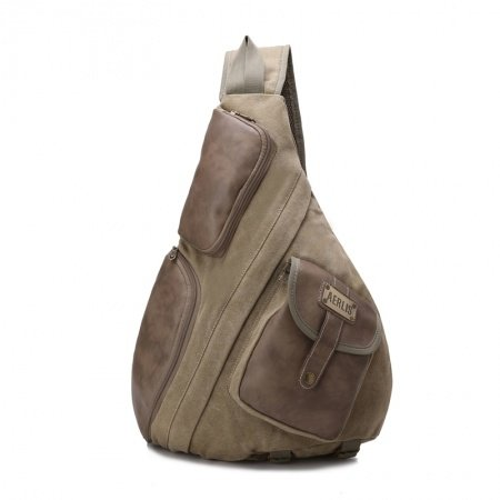 Vintage Taupe Brown Waxed Canvas Masculine Cool Men Crossbody Shoulder Chest Bag Durable Sewing Pattern Casual Travel Sling Backpack